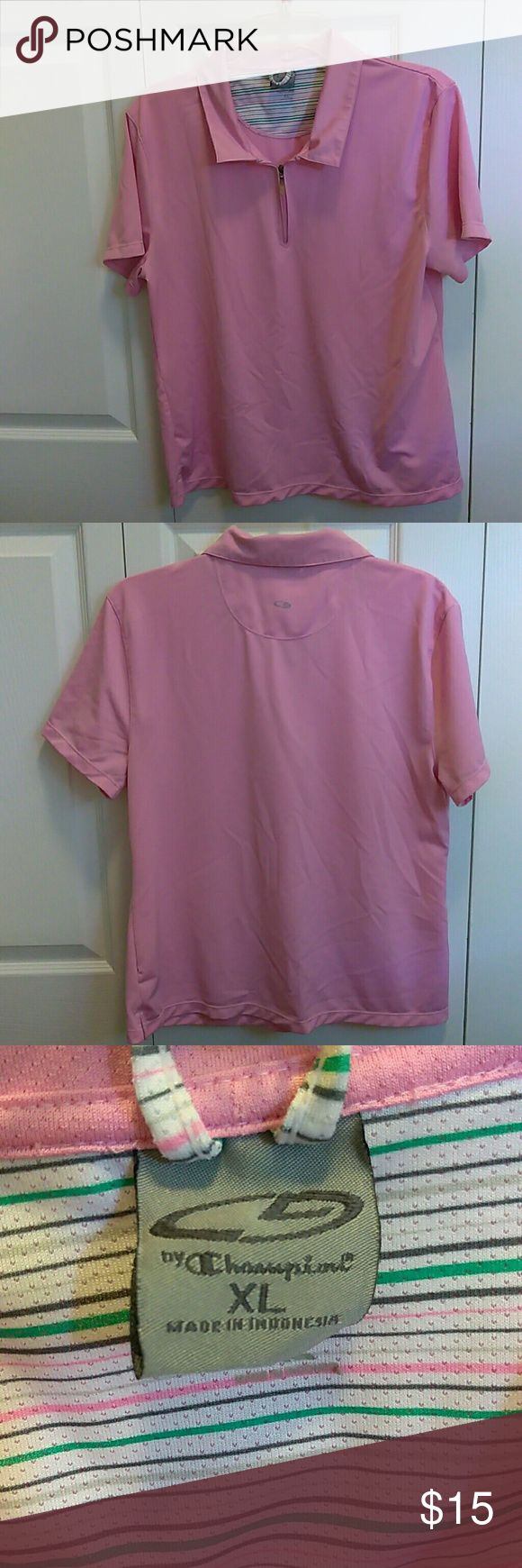 XL Lightweight Women's golf shirt C9 XL champion pink golf shirt cap sleeves lightweight has been hanging in my closet mark under flap snags by shoulder seam and on front by stomach area, also on back of arm but still in good condition C9 Tops Tees - Short Sleeve