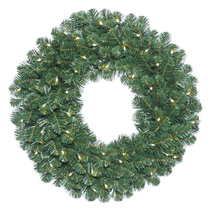 Vickerman 30 in. Oregon Fir Pre-Lit Wreath with 70 Warm White Lights - C164631LED
