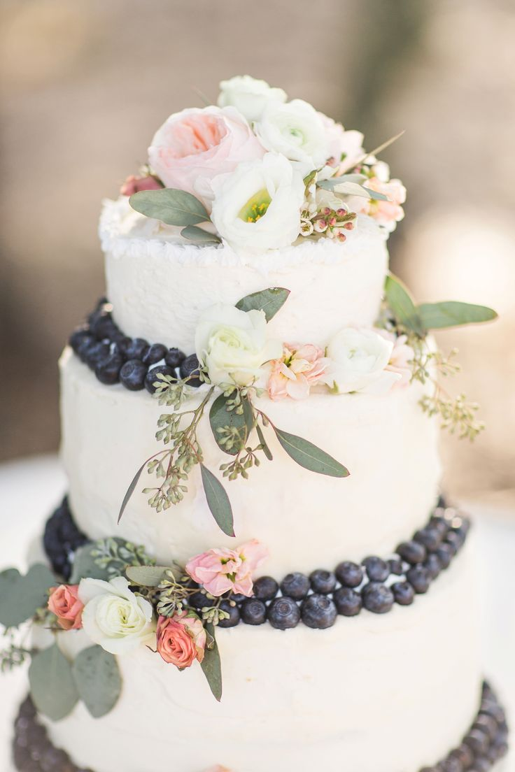 Flower and Berry Wedding Cake | Rustic Ocala Wedding | Bri Cibene Photography