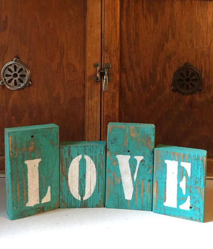 Love Sign Teal Blocks Rustic Wood Decor Shelf Sitter Country Decor Primitive Art | eBay