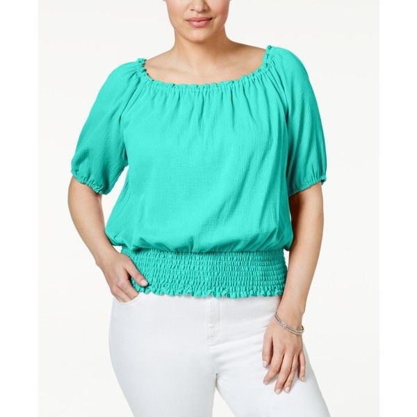 Michael Michael Kors Plus Size Smocked Peasant Top ($48) ❤ liked on Polyvore featuring plus size women's fashion, plus size clothing, plus size tops, plus size blouses, washed turquoise, plus size off the shoulder tops, off the shoulder blouse and plus size off shoulder tops