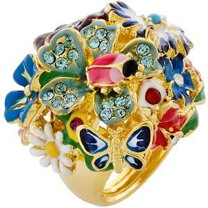 A dainty ladybug sits atop a cluster of glittering flowers in this whimsical Kenneth Jay Lane ring. Borrow this delightful designer piece for $12/week atAvelle (the new Bag, Borrow or Steal).