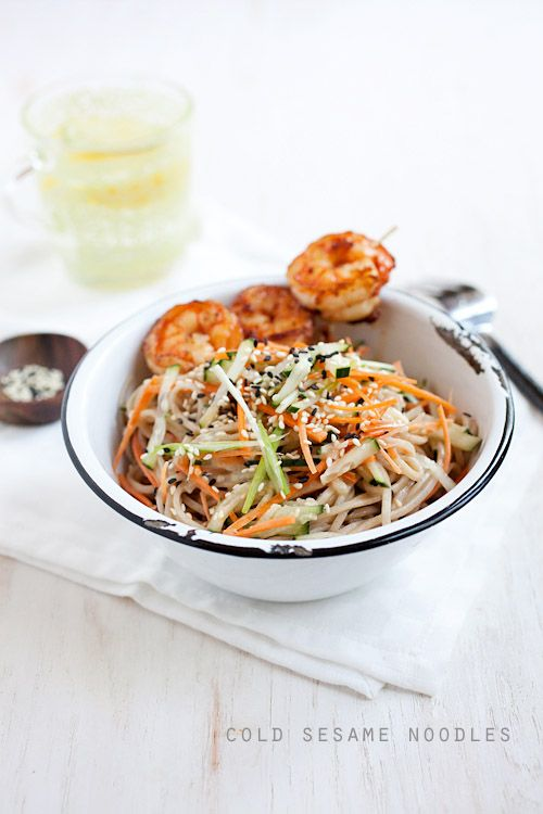 Cold sesame noodles with butter pepper shrimp recipe - Plats simple a cuisiner ...
