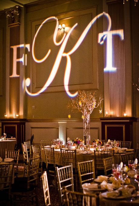 Monogram in lights for wedding reception (Rachel Pearlman Photography)