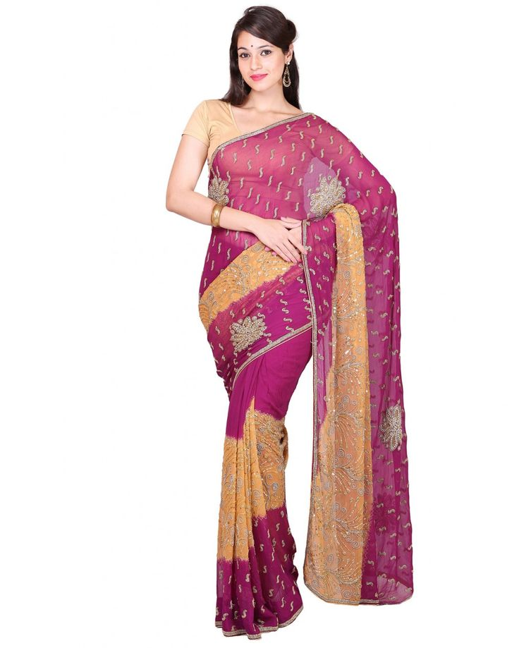 High quality pure soft silk saree with heavy stone work of 5.5 - 6 meters in length. Not inclusive of blouse piece.