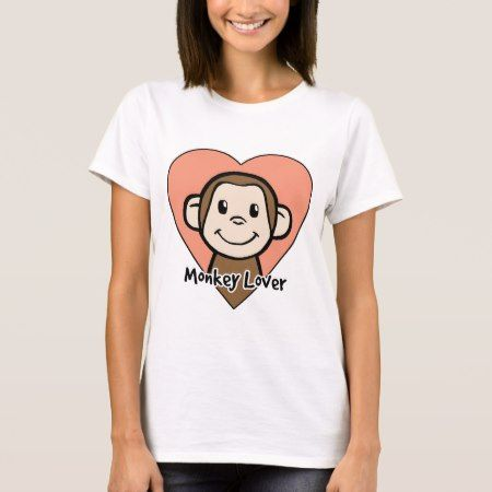 Cute Cartoon Clip Art Smile Monkey Love in Heart T-Shirt - tap to personalize and get yours