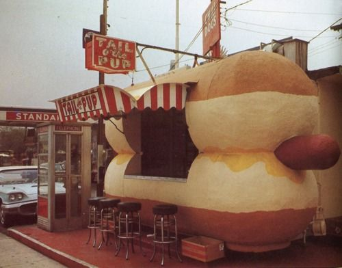 Hot Dog standVintage Los, Roadside Attraction, Hotdog, California, Pup, Places, Hot Dogs Stands, Los Angels, 1968 Tail