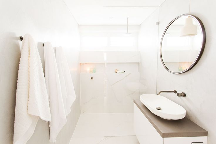 This minimalistic bathroom was created by Josh & Charlotte from The Block Triple Threat and features Nu Marble Bianco Rect tiles and Hotwire undertile heating. For more bathroom inspiration visit: http://www.beaumont-tiles.com.au/Room-Ideas/Bathrooms
