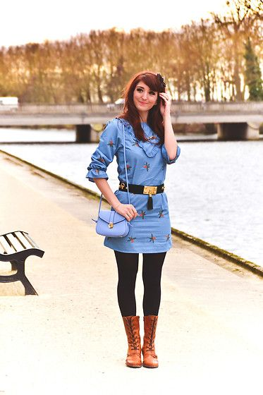 Get this look: http://lb.nu/look/8630473  More looks by Dépêches Mode: http://lb.nu/depeches_mode  Items in this look:  Zaful Dress, Sacha Shoes Boots   #preppy #romantic #vintage #blog #preppystyle