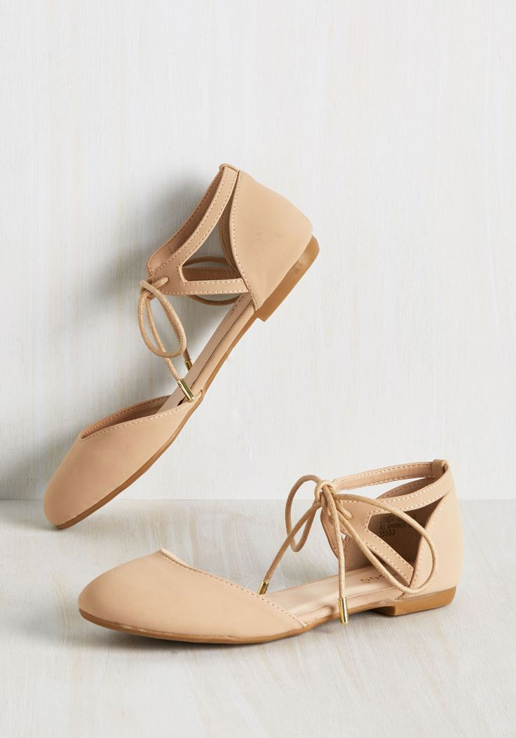 Sashaying through the heart of the French Quarter in these beige flats, you feel like you have a 'New Orleans' lease on life! A pair of geometric cutouts fastened by delicate ankle laces detail these d'Orsay, matte-finished skimmers, which contribute to your 'do-as-you-plies' attitude!