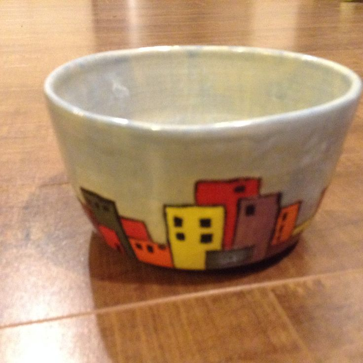 "Underglazed ""city"" bowl"