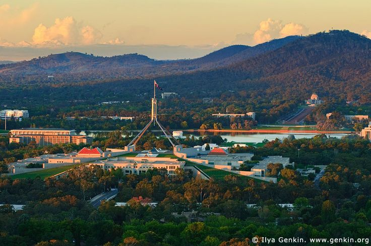 Parliament House at Sunset, View from Red Hill Lookout, Canberra, ACT, Australia.