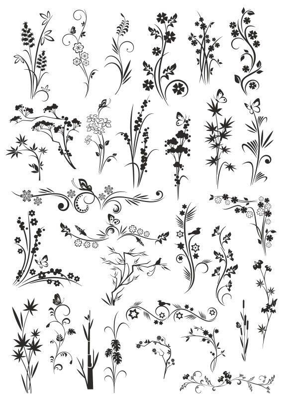 Растения векторный клипарт #01 рисунки для плоттерной и ...