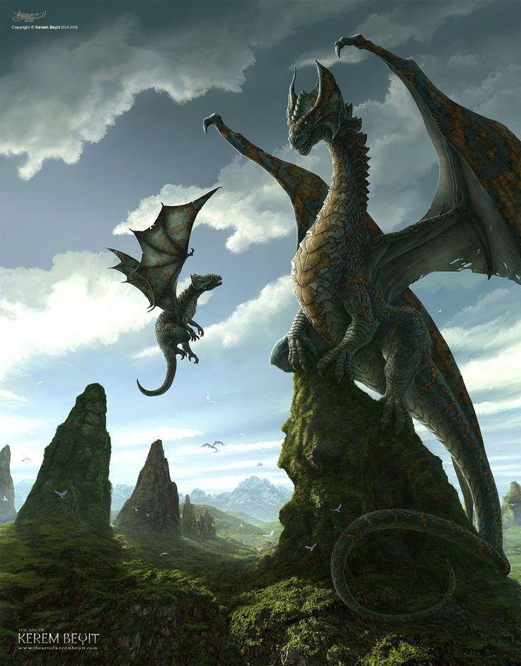 First Lesson by Kerem Beyit - dragon, dragons - Art of Fantasy