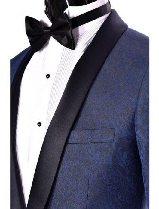 628eed04422 Mens Navy Blue Dinner Jacket Paisley Two toned Tuxedo Blazer Sport coat Shawl  Lapel  navysuits  navy  suits  prom