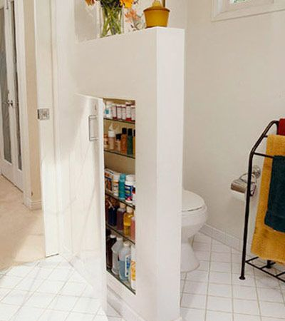 Need a separator for the loo and some storage space? Build a mini hollow wall!