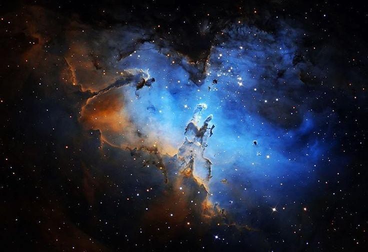 """""""Parlak gaz ve tozlardan doğan bulutlar tarafından sarılmış 2 milyon yaşında bir yıldız kümesi, Kartal nebulası. Bölgenin bu harika detaylı görüntüsü…"""""""
