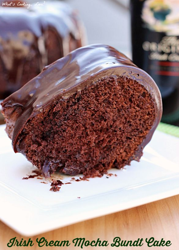 Irish Cream Mocha Bundt Cake. A delicious and easy cake that combines the flavors of chocolate, Irish Cream, and coffee. It is then topped with chocolate ganache.