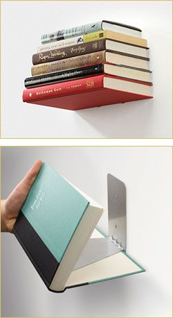 Invisible bookshelf. Would love to do this someday in my own house.