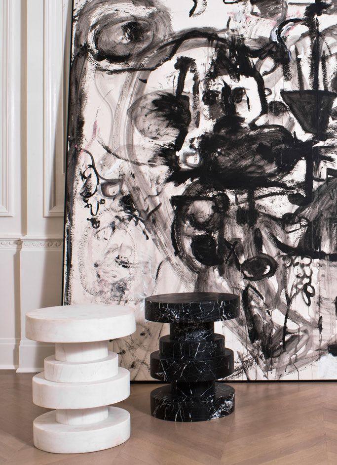 KELLY WEARSTLER | APOLLO STOOL. Luxurious hand-sculpted stool in elegant marble.