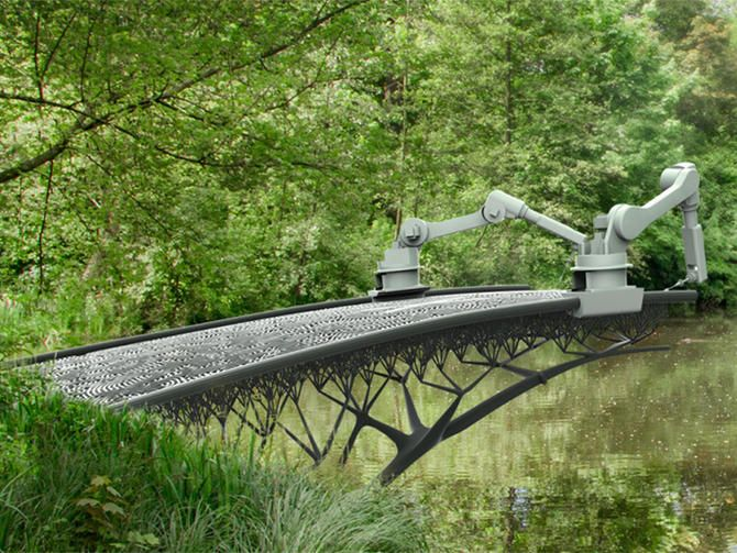 """A 3D printer that can print """"cables"""" of material in any orientation is set to 3D-print a steel bridge over a canal in Amsterdam."""