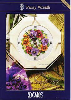 ENCANTOS EM PONTO CRUZ: Relógio de Flores em Ponto Cruz