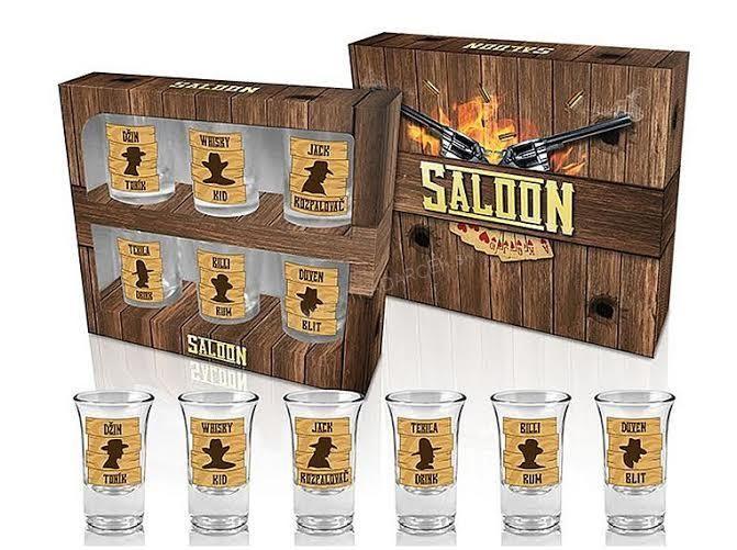 Štamperlíky pre mužov Western Saloon- Sada 6 ks