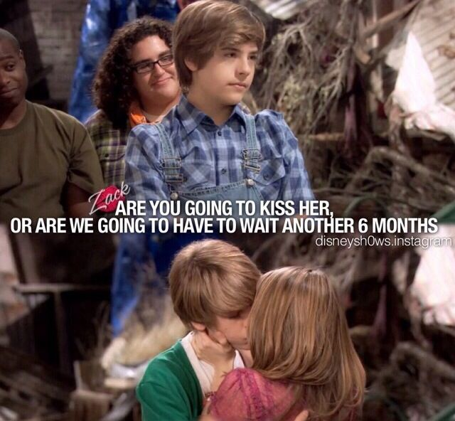 Suite Life on Deck. My favorite Cailey kiss. And good lord look at Cody's hair. mmmm