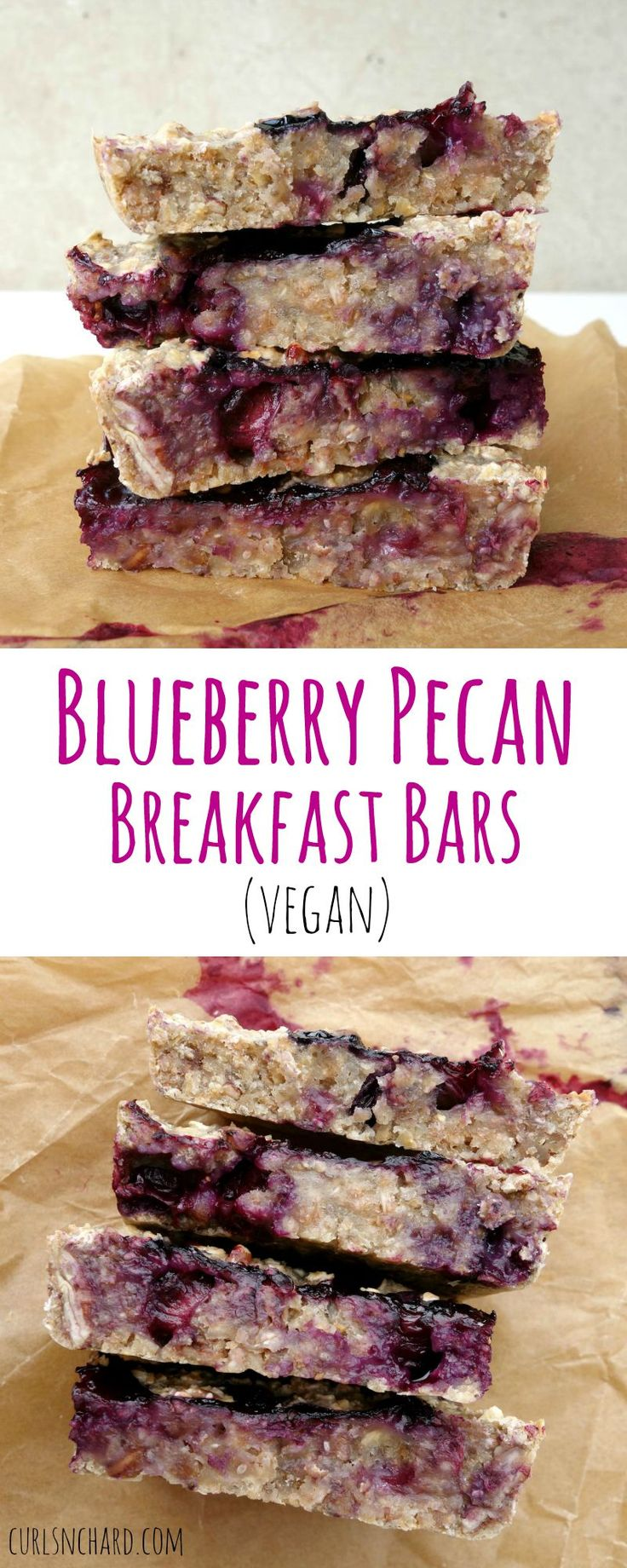 Blueberry Pecan Breakfast Bars made with Spelt Flour (vegan) | curlsnchard.com