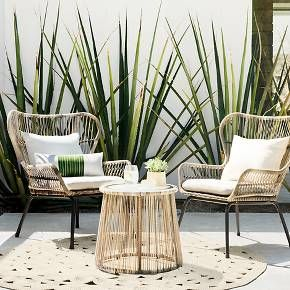 Give your backyard a sophisticated look with the Latigo All-Weather Wicker Outdoor Patio Chat Set from Threshold™. Handwoven from all-weather resin wicker, this bistro patio set is supported by a powder-coated steel frame, making it durable and long-lasting. Upgrade your outdoor dining experience or simply enjoy your favorite beverage with a friend while lounging back in these cushioned outdoor armchairs with accompanying accent table.