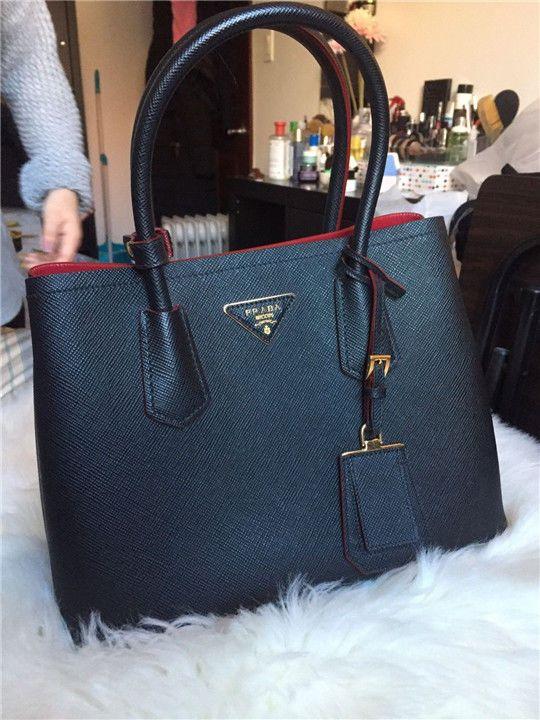 4ab303605dbd New Prada Saffiano Cuir Double Small Leather Black Tote Bag  leather   fashion  product  women  purse