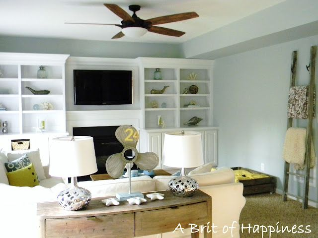 Sherwin Williams Rainwashed Blue Living Room