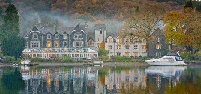 Lakeside Hotel winter morning, Lake Windermere, Cumbria