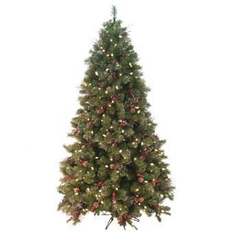 Prelit Artificial Christmas Tree   Christmas Berry Pre-Lit Artificial Christmas Tree - American Sale