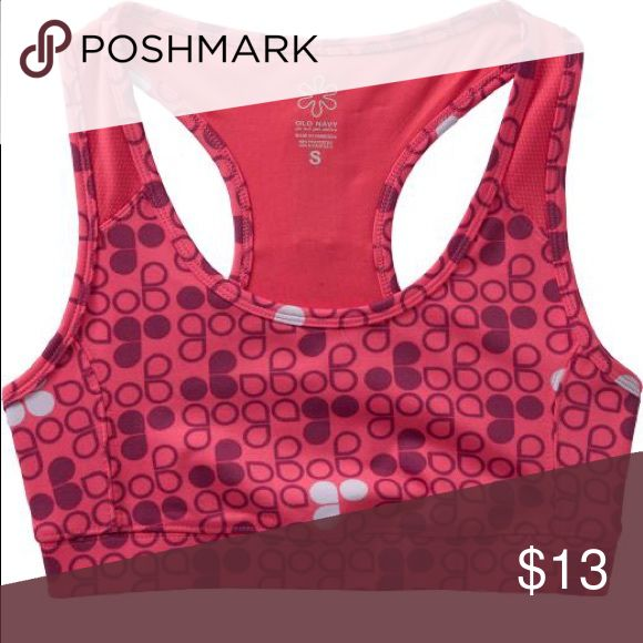 Old Navy Sports bra dots floral pink design M  top Even if you're the only one who'll be seeing your sports bra, it's fun to look cute underneath your clothes!  This is one of many cute bra patterns at Old Navy | gently Worn | Medium Old Navy Intimates & Sleepwear Bras