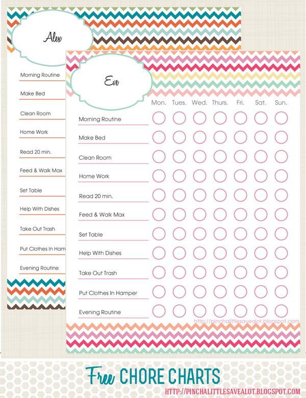 Free printables: Kids Chore Charts