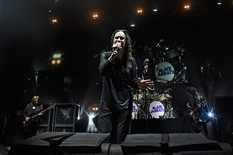 Geezer Butler, Ozzy Osbourne, Tommy Clufetos, and Tony Iommi perform onstage as Black Sabbath on 'The End Tour' at Nikon at Jones Beach Theater on August 17, 2016 in Wantagh, New York.