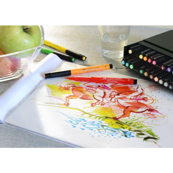 Ideal für Skizzen, Illustrationen oder Handletterings: Die Faber-Castell Tuschestifte PITT artist pen B in der praktischen Atelierbox mit 24 Stiften. Ran an die Stifte, fertig, los! #FaberCastell #Handlettering #Skizze #Zeichnen #Illustration #Tuschestift #Pinselspitze #Farbe #Papierfischer