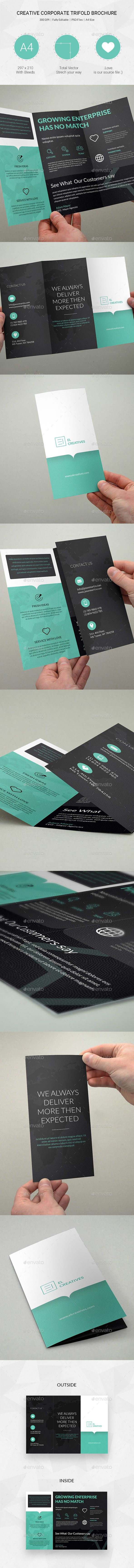 Creative Corporate Trifold Business Brochure Template PSD #design Download: http://graphicriver.net/item/creative-corporate-trifold-business-brochure-21/13540385?ref=ksioks
