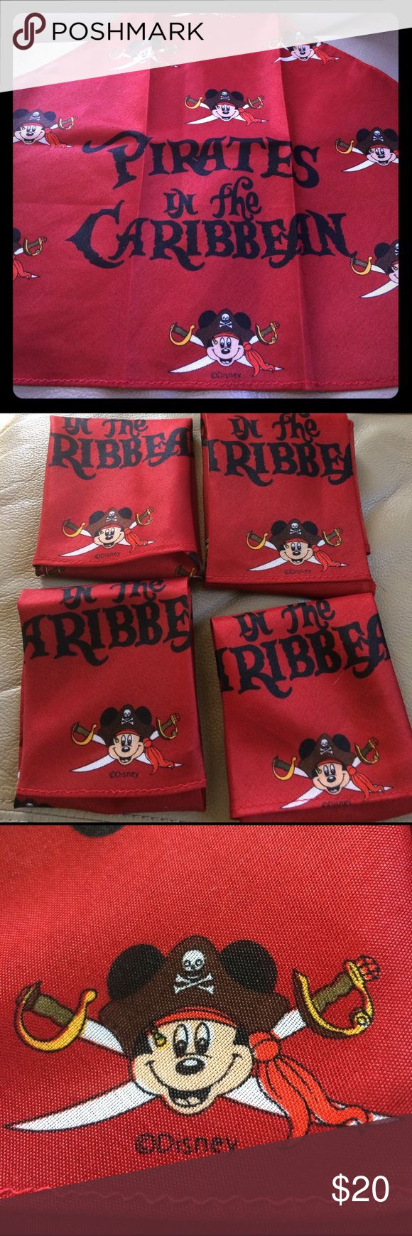 Mickey Mouse Disney pirate bandanna set of (4) NEW Mickey Mouse Disney pirate red bandanna scarves set of (4) New Disney Accessories Scarves & Wraps