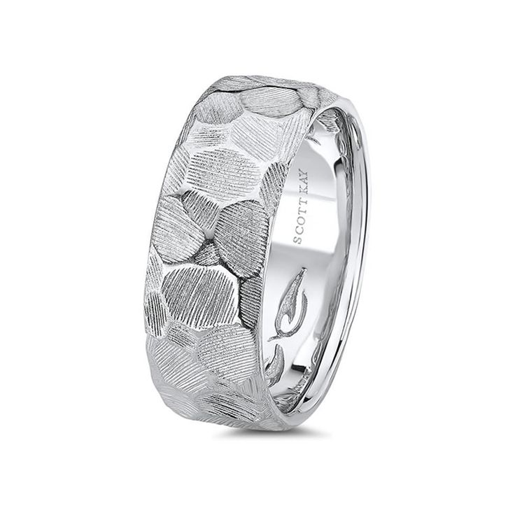 Best White Gold Carved Hammered Mens Wedding Band From the Classic Collection by Scott Kay mm