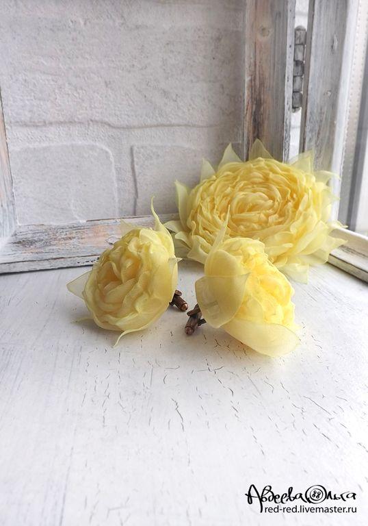 Купить Запонки с цветком из ткани. Желтые розы - цветы из ткани, цветы ручной работы