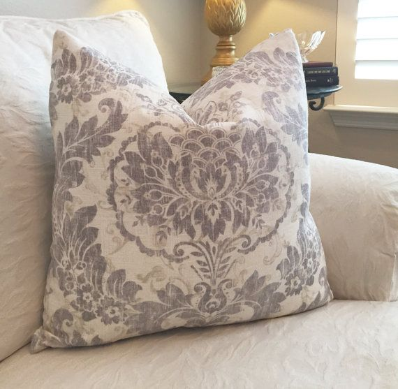 damask pillow coversivory pillowgray by on etsy sofa