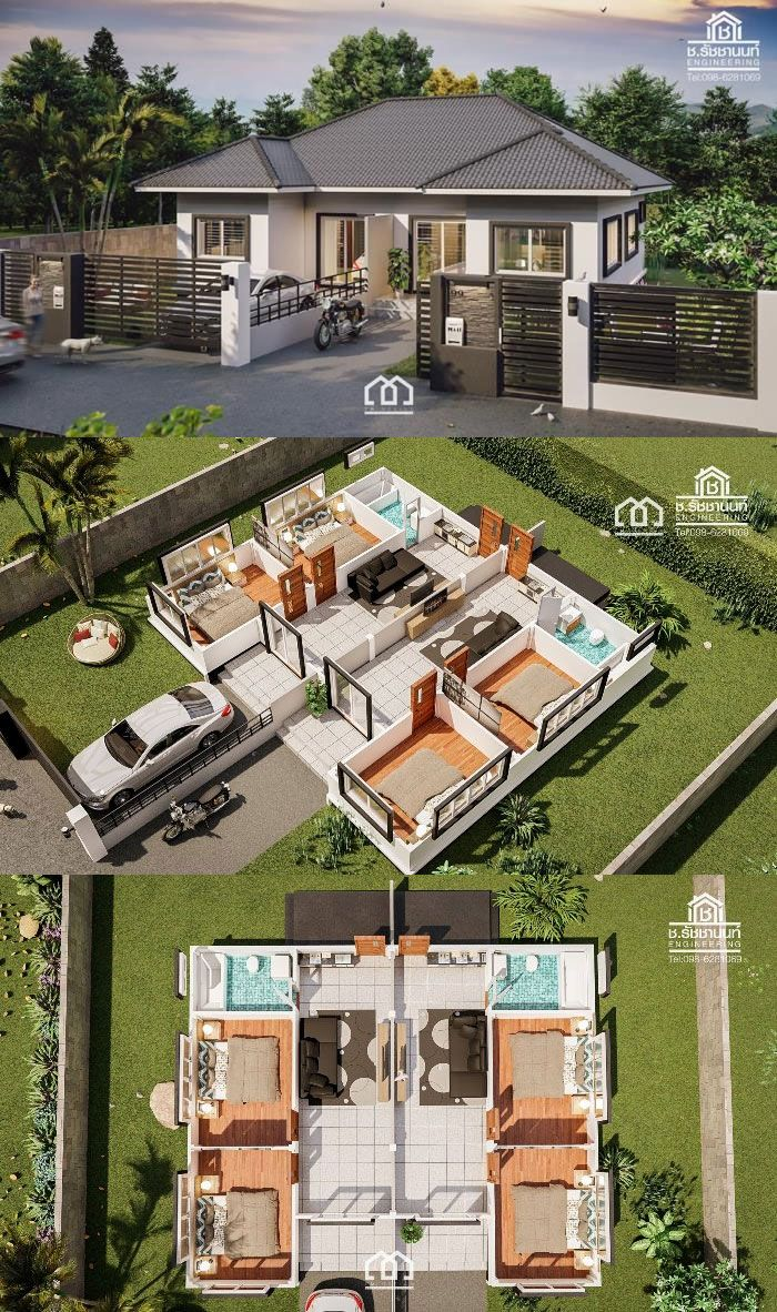 One Storey Duplex House Plan With 2 Bedrooms Beautiful House Plans Modern Style House Plans Philippines House Design