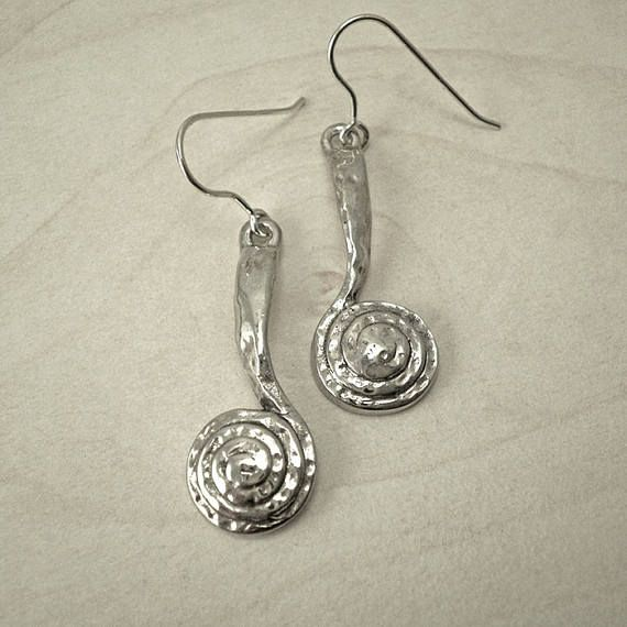 Silver drop earringssilver dangle earrinsspiral