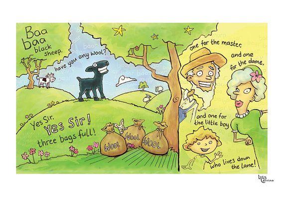Baa Baa Black Sheep Print by lucycorrina on Etsy, $25.00