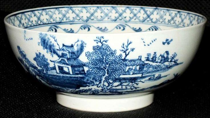 Rare 18th Century Lowestoft Porcelain Argument Pattern Punch Bowl c1775 - 80 £595