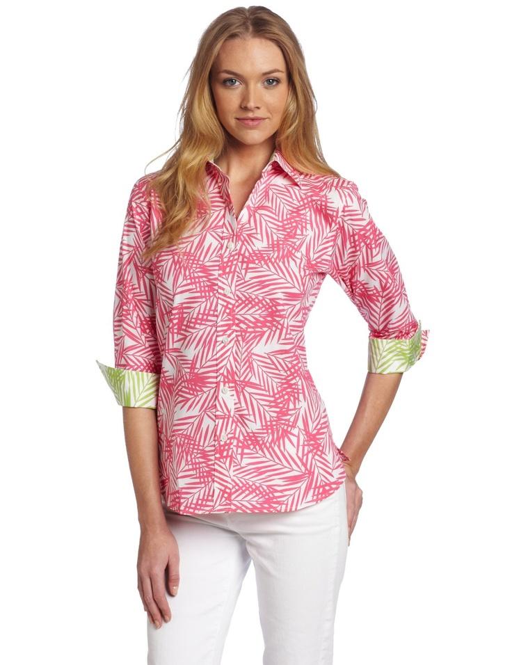 Foxcroft Women 39 S Palm Beach Print Button Down Blouse