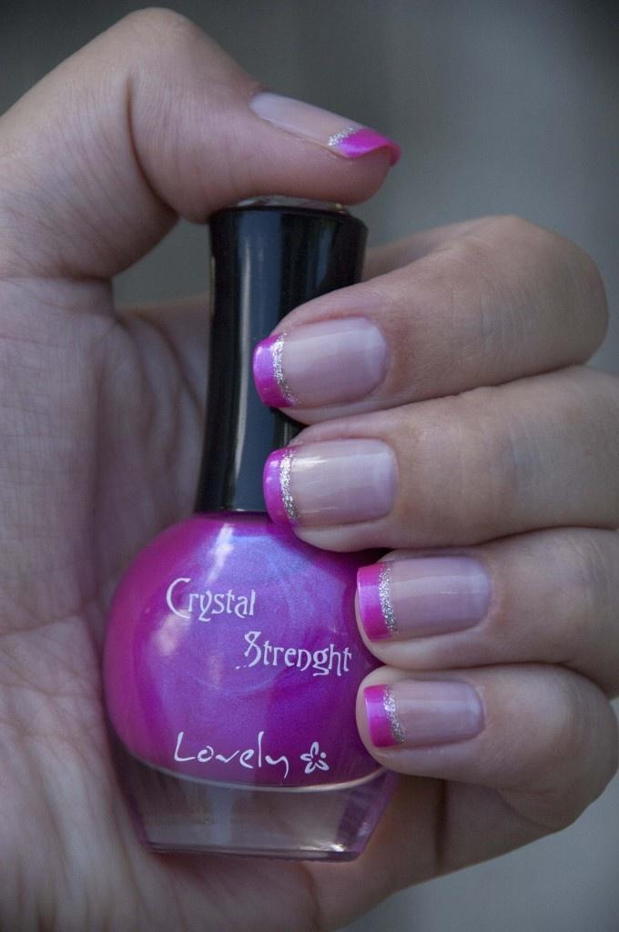 hot pink tip nails - photo #18