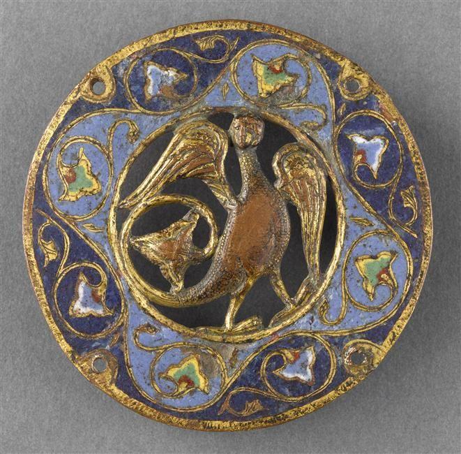 Médaillon ajouré : sirène-oiseau 4e quart 12e siècle-1er quart 13e siècle Limoges (origine) TECHNIQUE/MATIÈRE émail champlevé DIMENSIONS Diamètre : 0.084 m